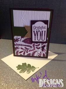 Purple Green Grateful For You Card (Front)